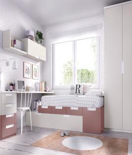 Dormitorio Juvenil cama con arrastre nido, armario, escritorio y módulos estantes Ref YH502