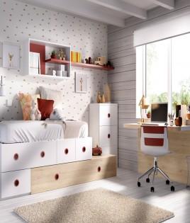 Dormitorio Juvenil cama con arrastre nido, xifonier, escritorio y módulos estantes Ref YH503