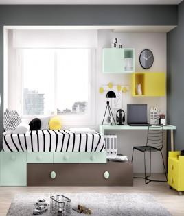 Dormitorio Juvenil cama con arrastre nido, escritorio y módulos estantes Ref YH505