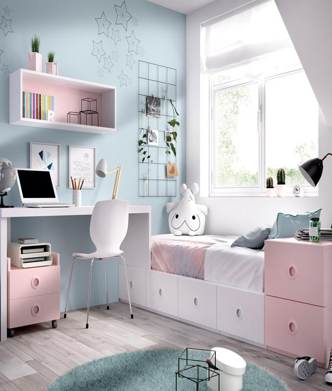 Dormitorio Juvenil cama con contenedores, escritorio y módulo estante Ref YH506