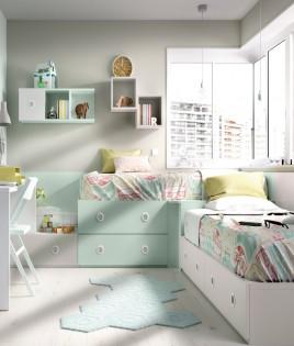 Dormitorio Juvenil camas con contenedores, escritorio y módulos estantes Ref YH504