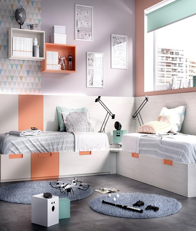 Dormitorio Juvenil con 2 camas, arrastre nido, contenedores y módulos estantes Ref YH507
