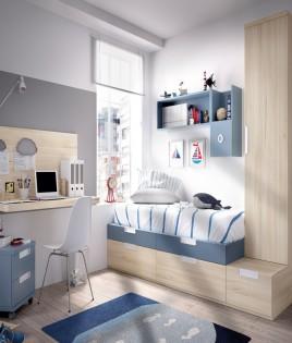 Dormitorio Juvenil cama con contenedores, armario, escritorio y módulos estantes Ref YH508