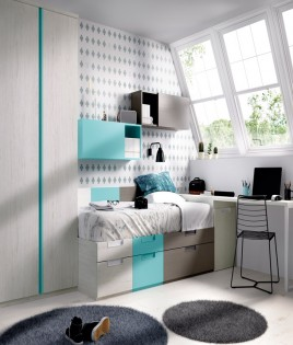 Dormitorio Juvenil cama con contenedores, armario, arcón y escritorio Ref YH509