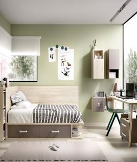 Dormitorio Juvenil cama con contenedores, cabezal estantería y escritorio Ref YH603