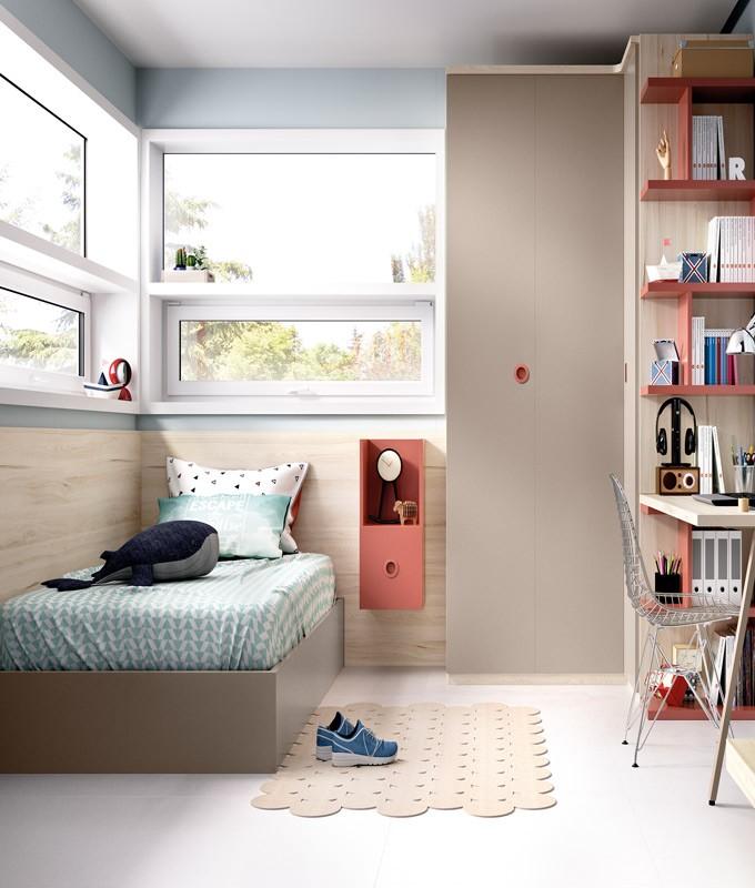 Dormitorio Juvenil cama canapé, armario rincón y escritorio Ref YH610