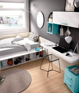 Dormitorio Juvenil cama canapé, escritorio y módulos estantes Ref YH611