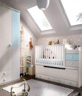 Dormitorio infantil convertible en Juvenil con cuna, cama de 90 cm y armario Ref YH511
