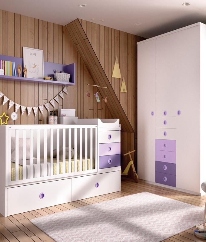 Dormitorio infantil convertible en Juvenil con cuna y armario Ref YH510