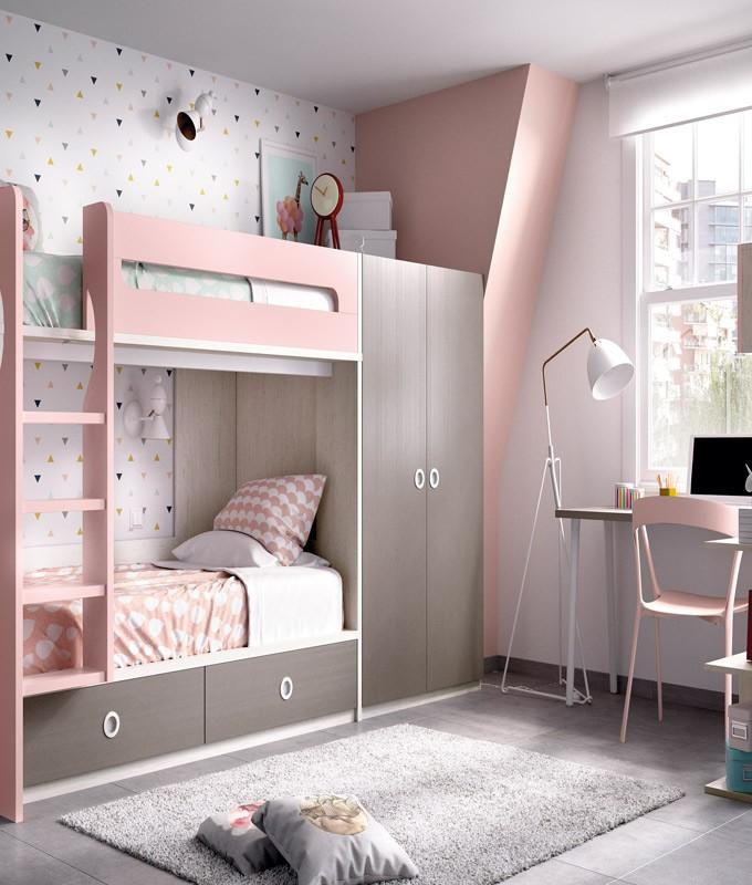Dormitorio Juvenil Litera Con Cajones Contenedores Armario Y