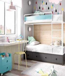Dormitorio Juvenil con litera y escritorio Ref YH308
