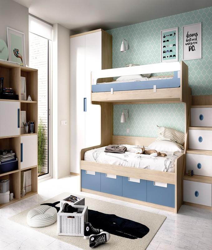 Dormitorio juvenil con litera con cama matrimonial e individual armario y librer a ref yh311 - Cama individual juvenil ...