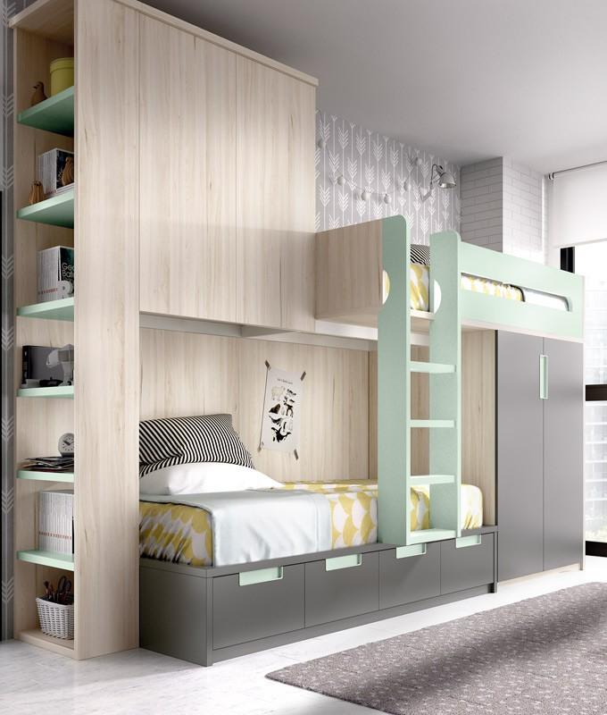 Dormitorio Juvenil Con Litera Tren Armario Integrado Y Puente Ref Yh315