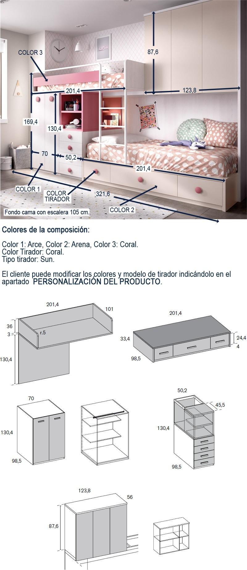 Dormitorio Juvenil Con Litera Tren Armario Integrado Y Puente Ref Yh316