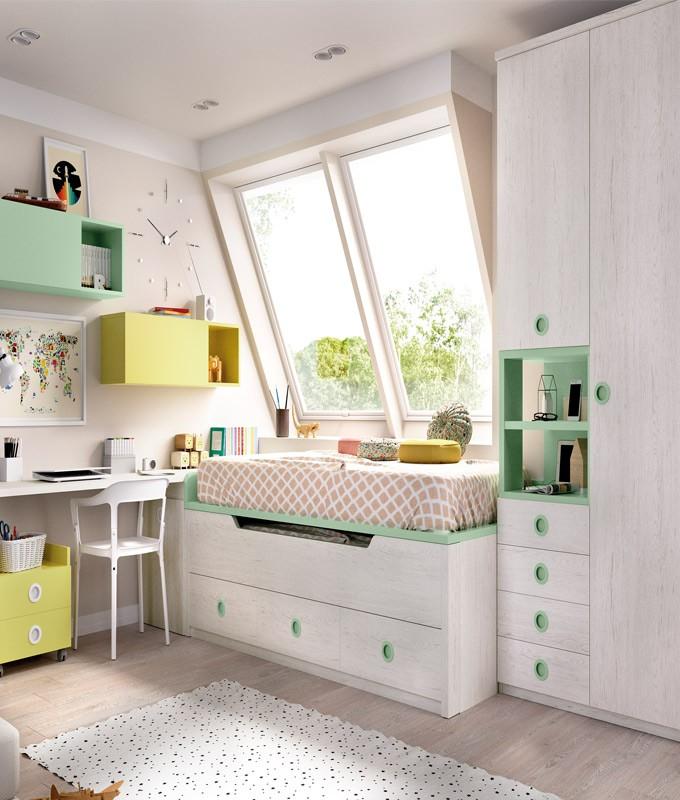 Dormitorio juvenil con 2 camas armario escritorio y - Tiempo en camas ...