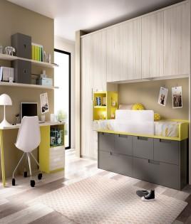 Dormitorio puente Juvenil con cama, armario y escritorio Ref YH105