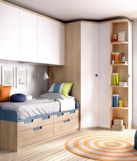 Dormitorio Juvenil con armario rincón y puente superior Ref YH112