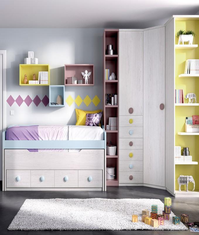 Dormitorio Juvenil Con 2 Camas Armario Rincón Y Módulos Estantes Ref Yh117