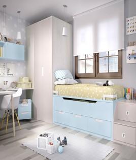 Dormitorio Juvenil con 2 camas y armario rincón Ref YH120