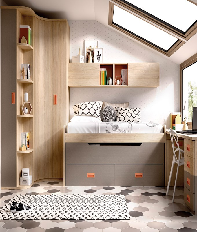 Dormitorio Juvenil Con 2 Camas Armario Rincón Con Zapatero Escritorio Y Módulos Estantes Ref Yh126
