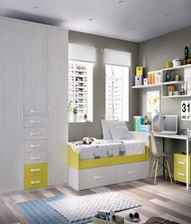 Dormitorio Juvenil con cama, armario 3 puertas, arcón zapatero y escritorio Ref YH207