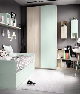 Dormitorio Juvenil con 2 camas, armario, escritorio y estantes Ref YH210