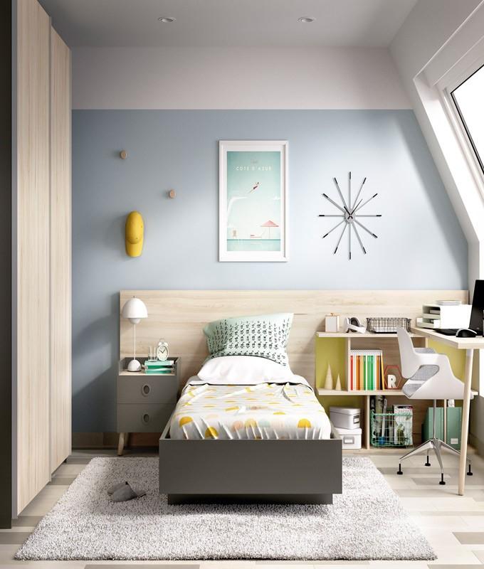 Dormitorio juvenil con cama de 90 armario y escritorio for Cama escritorio juvenil