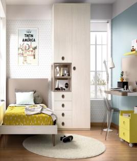 Dormitorio Juvenil con cama de 90, armario y escritorio Ref YH604