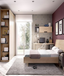 Dormitorio con cama matrimonial, armario y escritorio Ref YH606