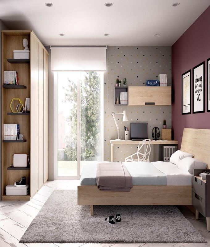Dormitorio con cama matrimonial armario y escritorio ref for Muebles para oficina estilo minimalista