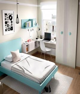 Dormitorio Juvenil con cama de 90, armario y escritorio Ref YH607