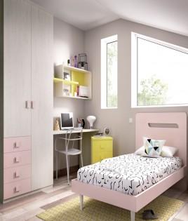 Dormitorio Juvenil con cama de 90, armario y escritorio Ref YH613