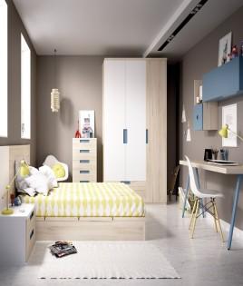 Dormitorio con cama de matrimonio, armario 3 puertas y escritorio Ref YH614