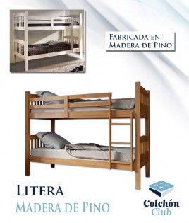 Litera de madera disponible en color Miel y Blanco Ref R15000