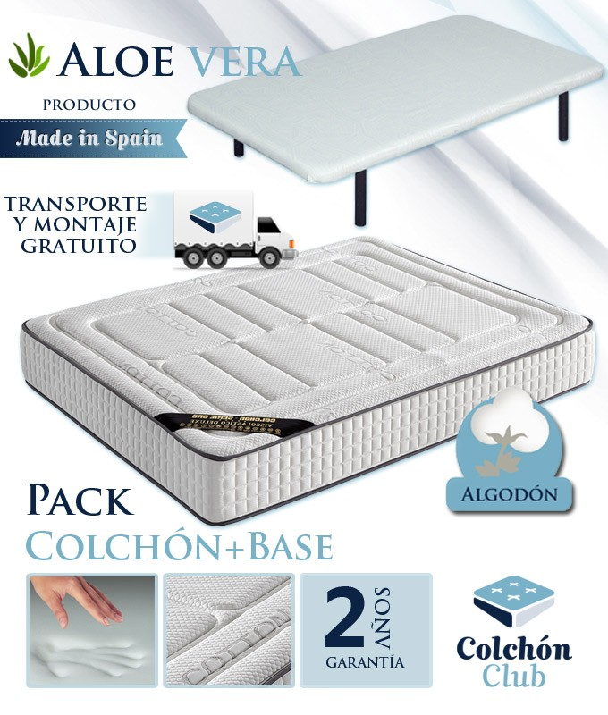 Pack Colchón Viscogel con Tejido Cotton, Aloe Vera y Base Tapizada Ref I48000