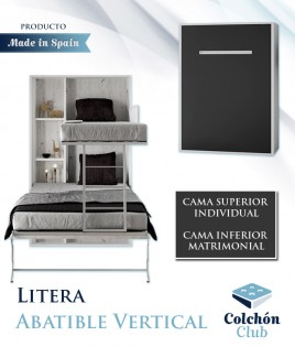 Litera Abatible Vertical con cama matrimonial disponible en gran variedad de colores Ref N14000