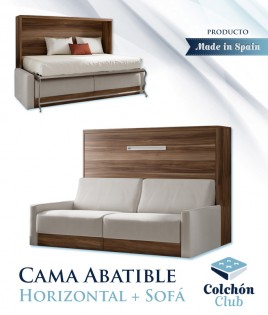Cama Abatible Horizontal con Sofá disponible en diferentes medidas y colores Ref N34000