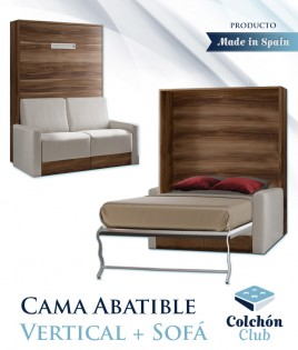 Cama Abatible Vertical con Sofá disponible en diferentes medidas y colores Ref N15000