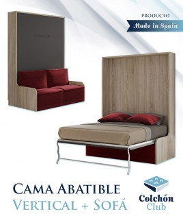 Cama Abatible Vertical con Sofá disponible en diferentes medidas y colores Ref N40000