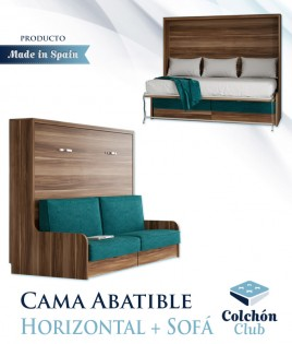 Cama Abatible Horizontal con Sofá disponible en diferentes medidas y colores Ref N41000