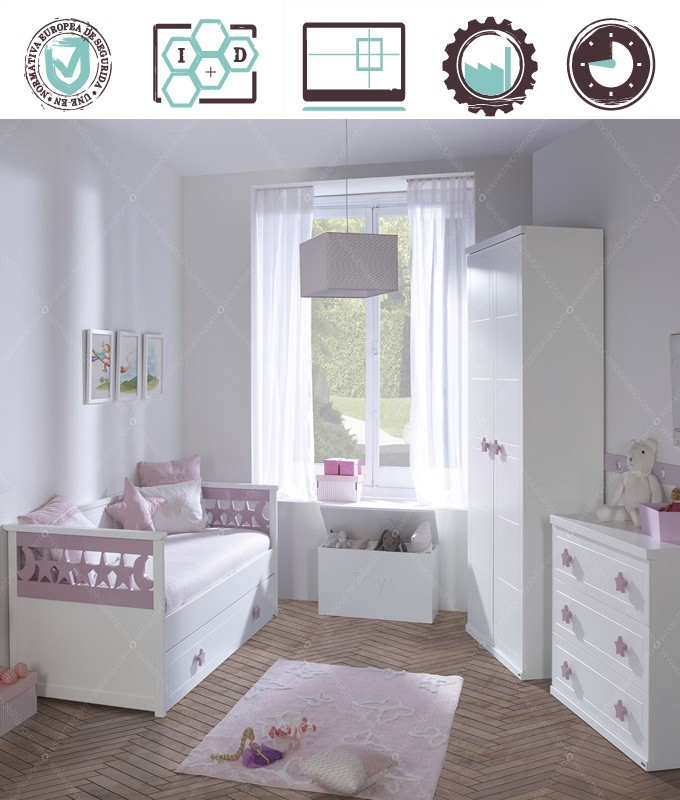 Dormitorio Juvenil en acabado Lacado compuesto por cama nido, armario 2 puertas, cómoda y baúl Ref W04