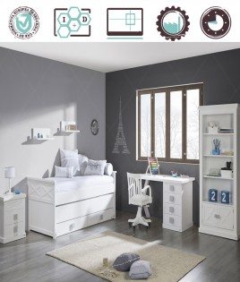 Dormitorio Juvenil en acabado Lacado compuesto por cama compacta, librero, escritorio y mesita Ref W02