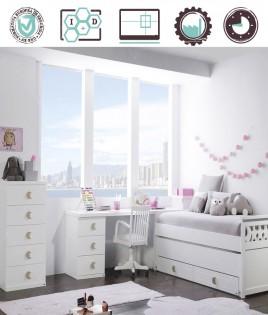 Dormitorio Juvenil en acabado Lacado compuesto por cama compacta, arcón, escritorio y xifonier Ref W03