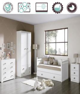 Dormitorio Juvenil en acabado Lacado compuesto por cama nido, armario 2 puertas, cómoda y mesita Ref W05
