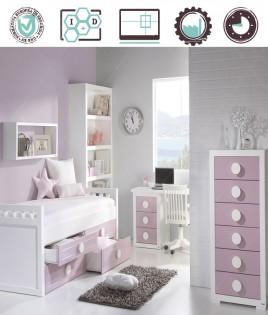 Dormitorio Juvenil en acabado Lacado compuesto por cama con cajones, librero, escritorio y xifonier Ref W06
