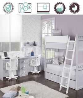 Dormitorio Juvenil en acabado Lacado compuesto por litera transformable en 2 camas y escritorio doble Ref W07