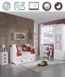 Dormitorio Juvenil en acabado Lacado compuesto por cama nido, mesita, armario 2 puertas y escritorio Ref W08