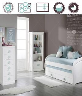 Dormitorio Juvenil en acabado Lacado compuesto por cama compacta, librero y xifonier Ref W09