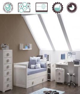 Dormitorio Juvenil en acabado Lacado compuesto por cama nido, arcón, xifonier y escritorio Ref W10
