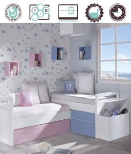 Dormitorio Juvenil en acabado Lacado compuesto por 2 camas con cajones, estantes y baúl Ref W11